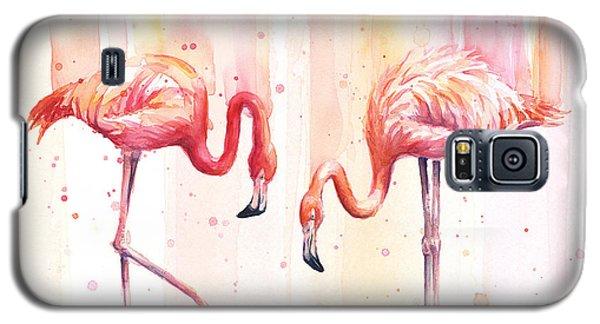 Flamingo Galaxy S5 Case - Two Flamingos Watercolor by Olga Shvartsur
