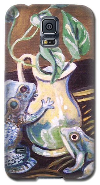 Galaxy S5 Case featuring the painting Two Frogs by Laura Aceto