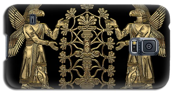 Two Instances Of Gold God Ninurta With Tree Of Life Over Black Canvas Galaxy S5 Case