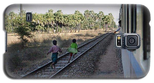 Two Kids Run Along And Follow Train In Burma Galaxy S5 Case