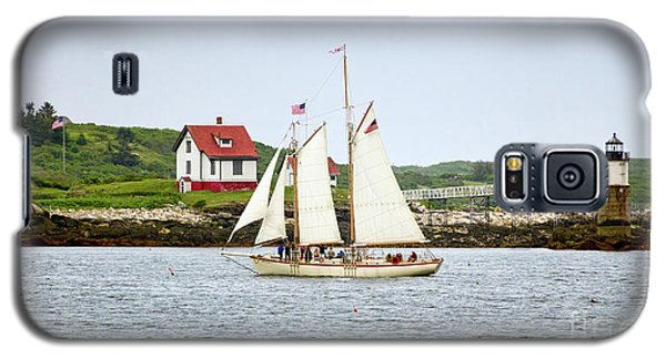 Galaxy S5 Case featuring the photograph Two Masted Schooner And Ram Island Light, East Boothbay, Me #40200 by John Bald