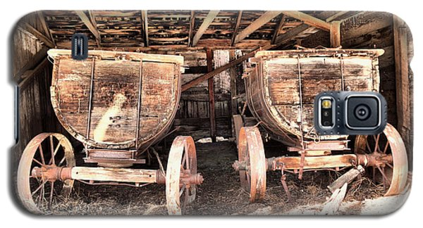 Galaxy S5 Case featuring the photograph Two Old Wagons by Jeff Swan