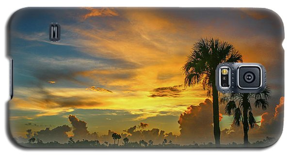 Two Palm Silhouette Sunrise Galaxy S5 Case