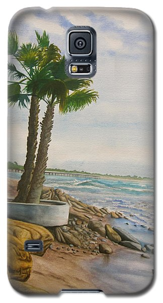 Galaxy S5 Case featuring the painting Two Palms by Teresa Beyer