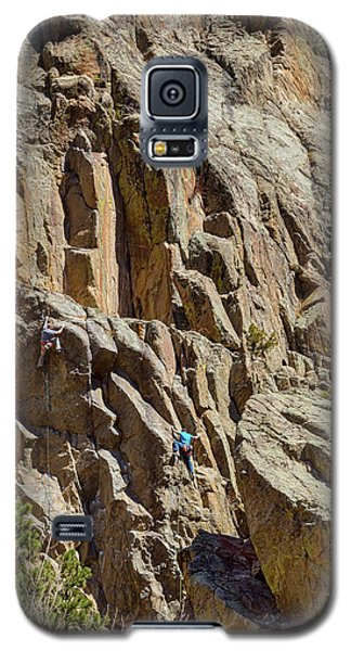Galaxy S5 Case featuring the photograph Two Rock Climbers Making Their Way by James BO Insogna