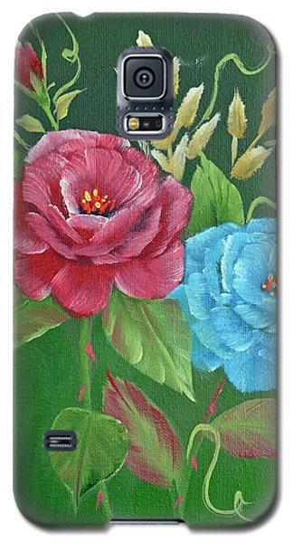 Two Roses Red And Blue Galaxy S5 Case