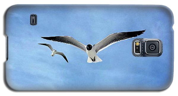 Galaxy S5 Case featuring the photograph Two Seagulls Against A Blue Sky by Jeanne Forsythe