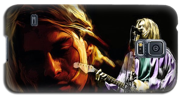 Galaxy S5 Case featuring the painting Two Shades  Kurt Cobain by Iconic Images Art Gallery David Pucciarelli