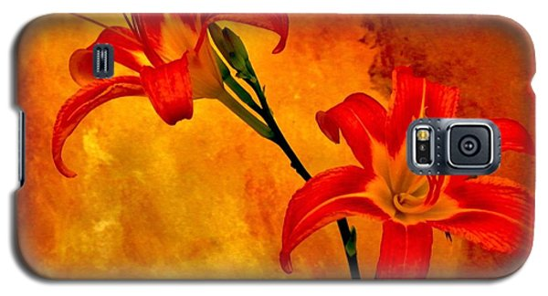 Galaxy S5 Case featuring the digital art Two Tigerlilies by Marsha Heiken