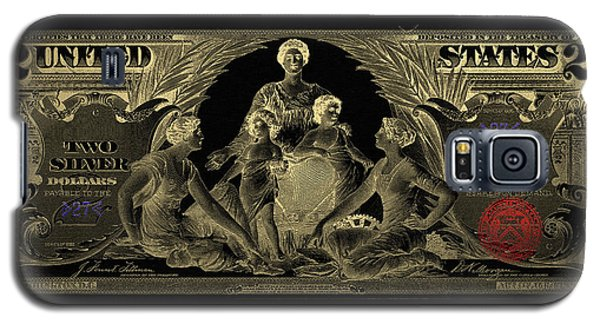 Galaxy S5 Case featuring the photograph Two U.s. Dollar Bill - 1896 Educational Series In Gold On Black  by Serge Averbukh