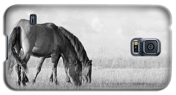 Galaxy S5 Case featuring the photograph Two Wild Mustangs by Bob Decker