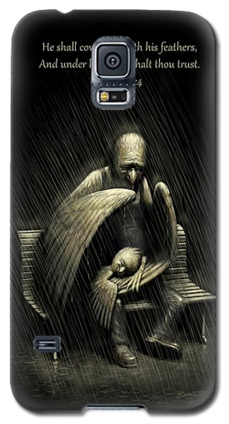 Galaxy S5 Case featuring the digital art Two Wings And A Prayer - With Psalm 91 by Ben Hartnett