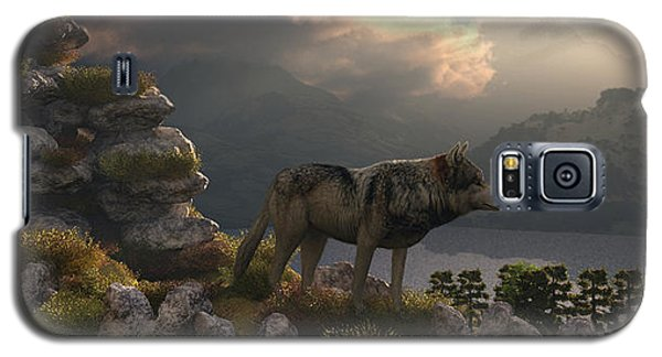 Galaxy S5 Case featuring the digital art Two Wolfs On A Lookout  by Walter Colvin
