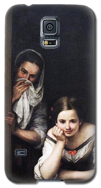 Galaxy S5 Case featuring the painting Two Women At Window by Pg Reproductions