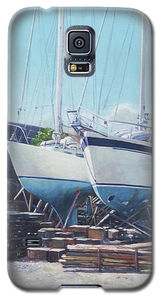 Galaxy S5 Case featuring the painting Two Yachts Receiving Maintenance In A Yard by Martin Davey