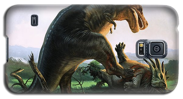 Tyrannosaurus Rex Eating A Styracosaurus Galaxy S5 Case by William Francis Phillipps