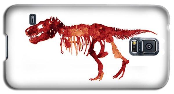 Tyrannosaurus Rex Skeleton Poster, T Rex Watercolor Painting, Red Orange Animal World Art Print Galaxy S5 Case by Joanna Szmerdt