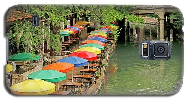 Galaxy S5 Case featuring the photograph Umbrellas Along River Walk - San Antonio by Art Block Collections