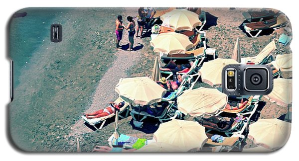 Galaxy S5 Case featuring the photograph Umbrellas On The Beach - Nerja by Mary Machare
