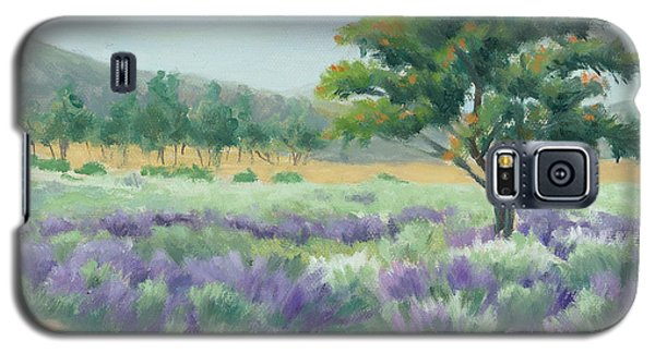 Galaxy S5 Case featuring the painting Under Blue Skies In Lavender Fields by Sandy Fisher