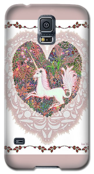 Galaxy S5 Case featuring the digital art Unicorn In A Pink Heart by Lise Winne