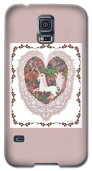 Unicorn In A Pink Heart Galaxy S5 Case