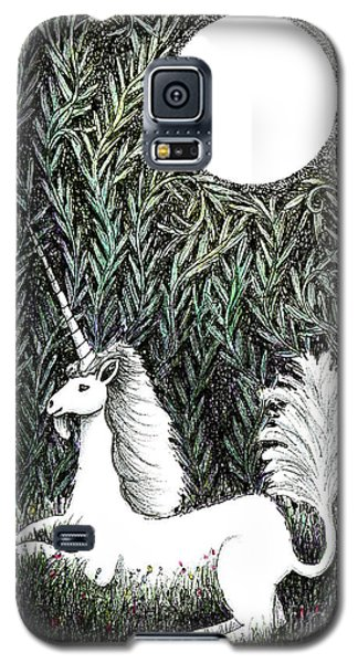 Galaxy S5 Case featuring the drawing Unicorn In Moonlight by Lise Winne