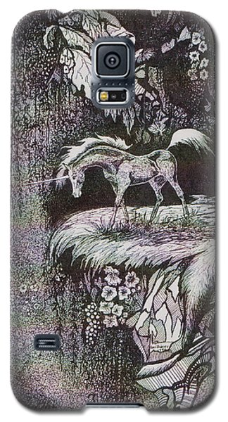 Galaxy S5 Case featuring the drawing Unicorn by Loxi Sibley