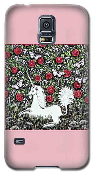Unicorn With Red Roses And Butterflies Galaxy S5 Case