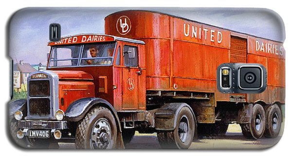 Galaxy S5 Case featuring the painting United Dairies Scammell. by Mike  Jeffries