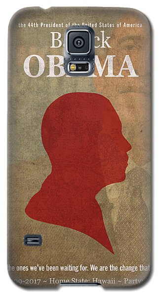 United States Of America President Barack Obama Facts Portrait And Quote Poster Series Number 44 Galaxy S5 Case by Design Turnpike