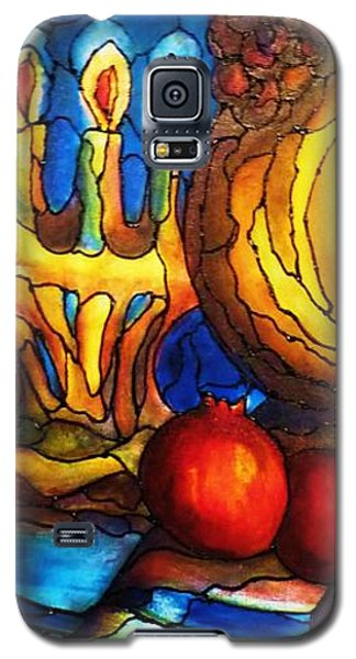 Galaxy S5 Case featuring the painting Still Life With Grapes And Pomegranates by Rae Chichilnitsky