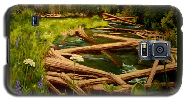 Galaxy S5 Case featuring the painting Upper Deschutes by Nancy Jolley