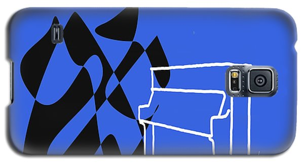 Galaxy S5 Case featuring the digital art Upright Piano In Blue by Jazz DaBri