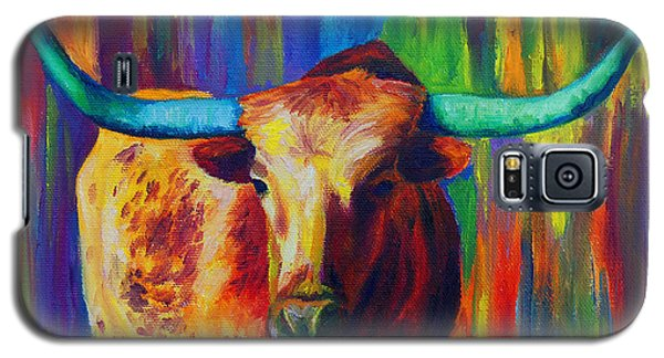 Galaxy S5 Case featuring the painting Uptown Longhorn by Karen Kennedy Chatham