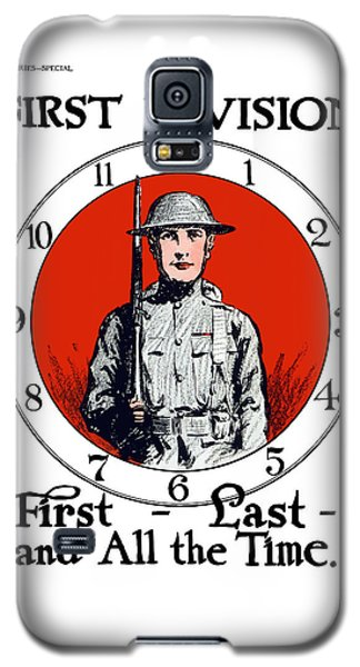 Galaxy S5 Case featuring the painting Us Army First Division - Ww1 by War Is Hell Store
