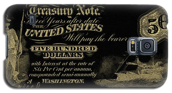 Galaxy S5 Case featuring the digital art U.s. Five Hundred Dollar Bill - 1864 $500 Usd Treasury Note In Gold On Black by Serge Averbukh