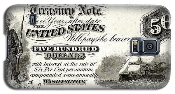 Galaxy S5 Case featuring the digital art U.s. Five Hundred Dollar Bill - 1864 $500 Usd Treasury Note  by Serge Averbukh
