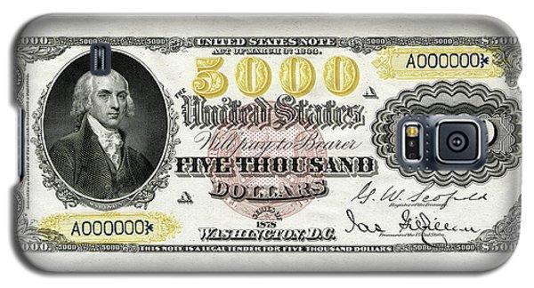 Galaxy S5 Case featuring the digital art U.s. Five Thousand Dollar Bill - 1878 $5000 Usd Treasury Note  by Serge Averbukh