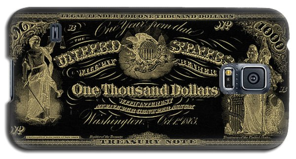 Galaxy S5 Case featuring the digital art U. S. One Thousand Dollar Bill - 1863 $1000 Usd Treasury Note In Gold On Black by Serge Averbukh