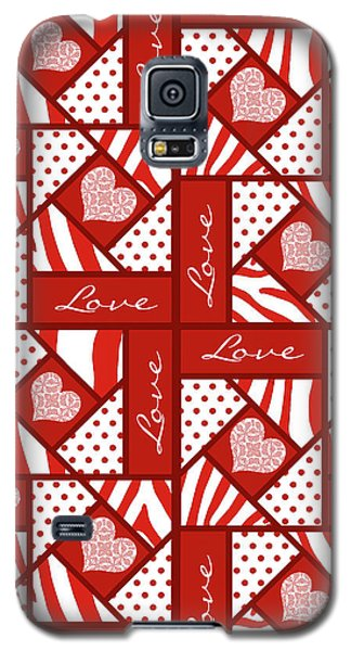 Valentine 4 Square Quilt Block Galaxy S5 Case by Methune Hively