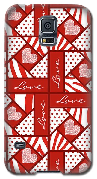 Valentine 4 Square Quilt Block Galaxy S5 Case