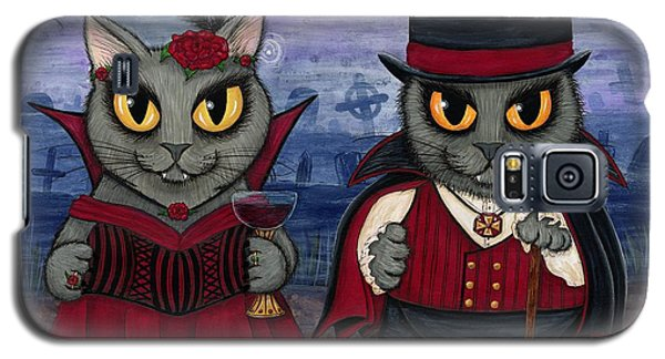 Galaxy S5 Case featuring the painting Vampire Cat Couple by Carrie Hawks