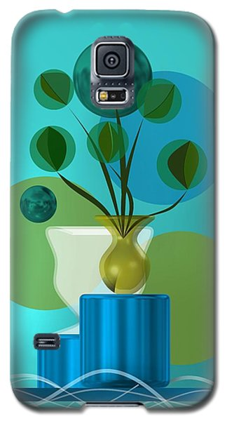 Vase With Bouquet Over Blue Galaxy S5 Case
