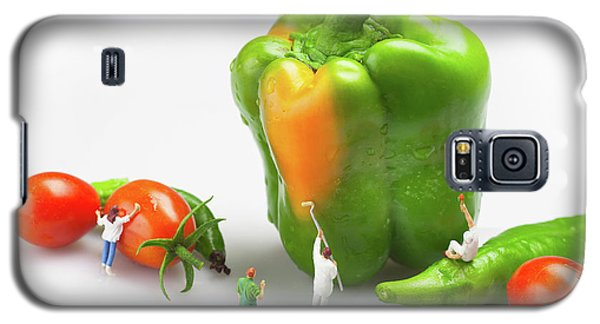 Galaxy S5 Case featuring the painting Vegetable Painting Little People On Food by Paul Ge