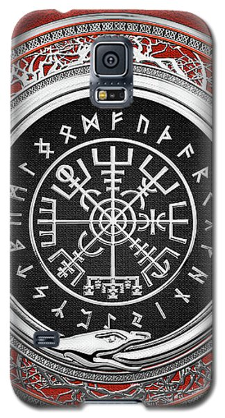 Vegvisir - A Silver Magic Viking Runic Compass On Red Leather  Galaxy S5 Case