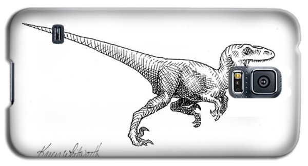 Galaxy S5 Case featuring the drawing Velociraptor - Dinosaur Black And White Ink Drawing by Karen Whitworth