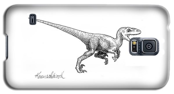 Velociraptor - Dinosaur Black And White Ink Drawing Galaxy S5 Case