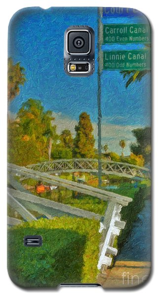 Galaxy S5 Case featuring the photograph Venice Canal Bridge Signs by David Zanzinger