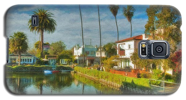 Galaxy S5 Case featuring the photograph Venice Canal Houses Watercolor  by David Zanzinger